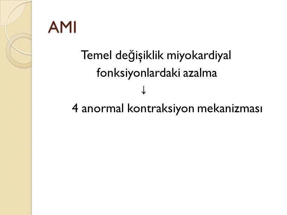 AMI Temel de ğ işiklik miyokardiyal fonksiyonlardaki azalma ↓ 4 anormal kontraksiyon mekanizması