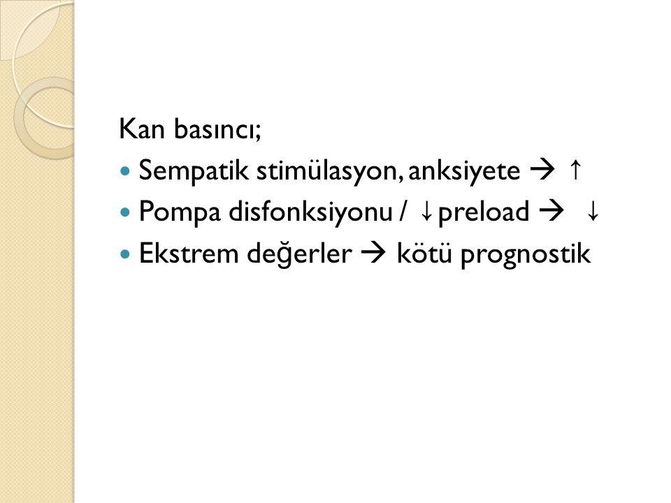 Kan basıncı; Sempatik stimülasyon, anksiyete  ↑ Pompa disfonksiyonu / ↓ preload  ↓ Ekstrem de ğ erler  kötü prognostik