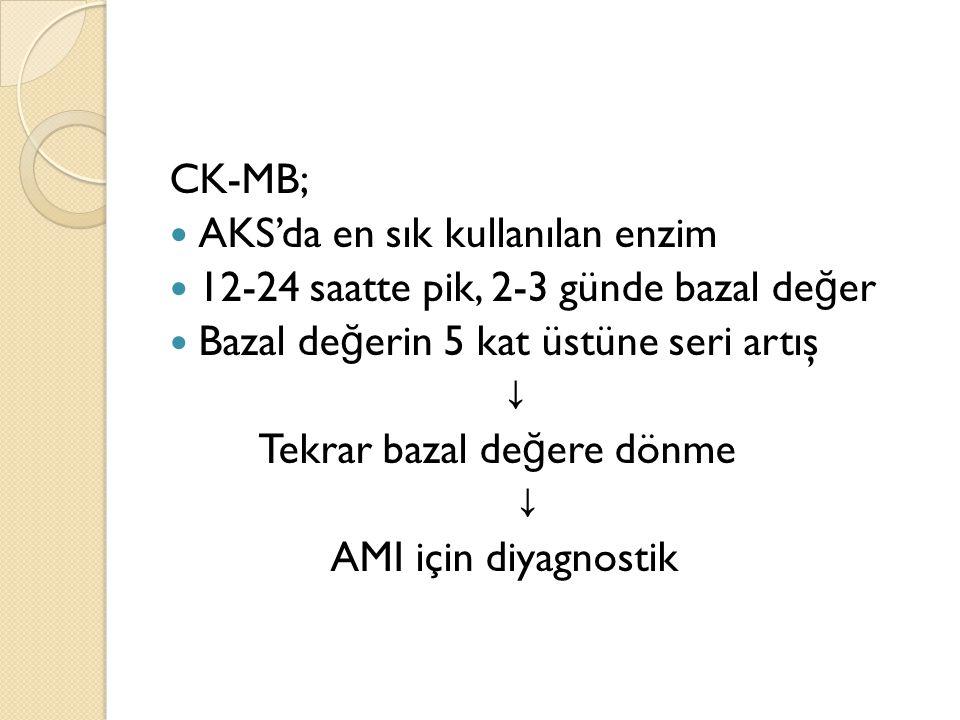 CK-MB; AKS'da en sık kullanılan enzim 12-24 saatte pik, 2-3 günde bazal de ğ er Bazal de ğ erin 5 kat üstüne seri artış ↓ Tekrar bazal de ğ ere dönme