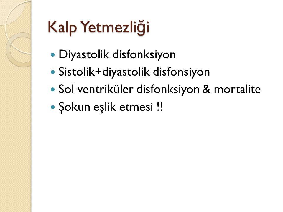 Kalp Yetmezli ğ i Diyastolik disfonksiyon Sistolik+diyastolik disfonsiyon Sol ventriküler disfonksiyon & mortalite Şokun eşlik etmesi !!