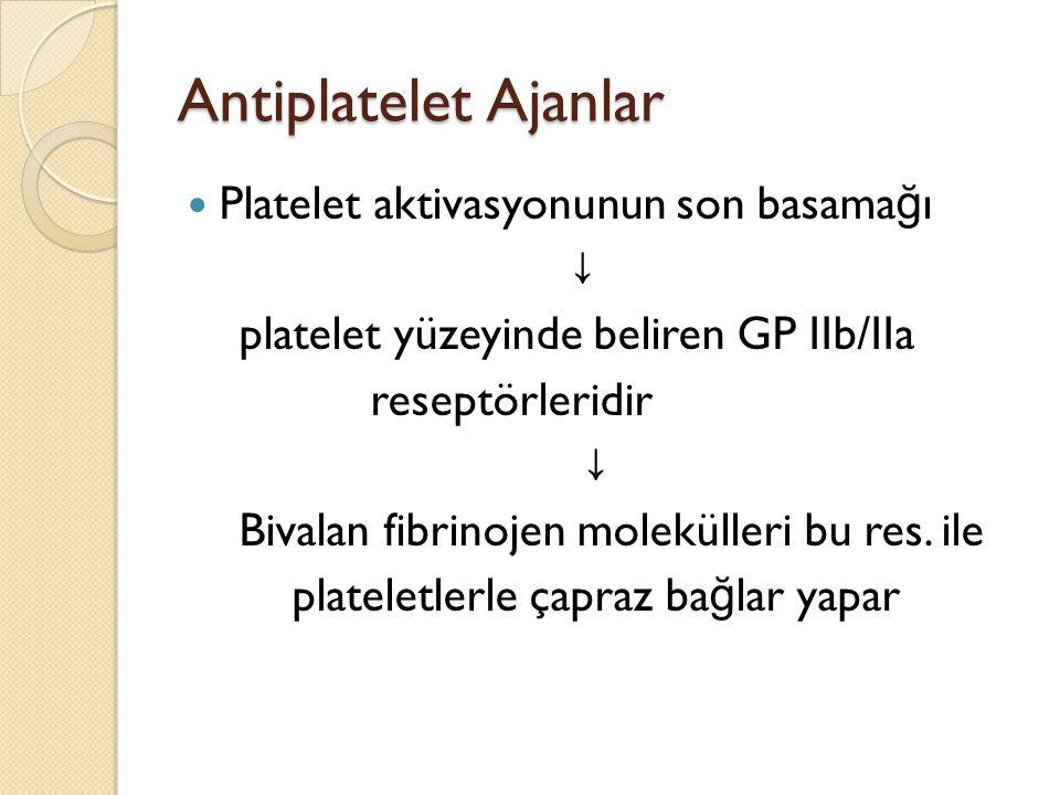 Antiplatelet Ajanlar Platelet aktivasyonunun son basama ğ ı ↓ platelet yüzeyinde beliren GP IIb/IIa reseptörleridir ↓ Bivalan fibrinojen molekülleri b