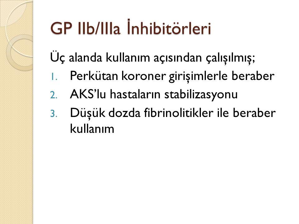 GP IIb/IIIa İ nhibitörleri Üç alanda kullanım açısından çalışılmış; 1. Perkütan koroner girişimlerle beraber 2. AKS'lu hastaların stabilizasyonu 3. Dü