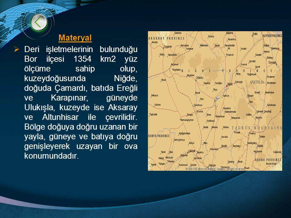 Materyal  Deri işletmelerinin bulunduğu Bor ilçesi 1354 km2 yüz ölçüme sahip olup, kuzeydoğusunda Niğde, doğuda Çamardı, batıda Ereğli ve Karapınar, güneyde Ulukışla, kuzeyde ise Aksaray ve Altunhisar ile çevrilidir.