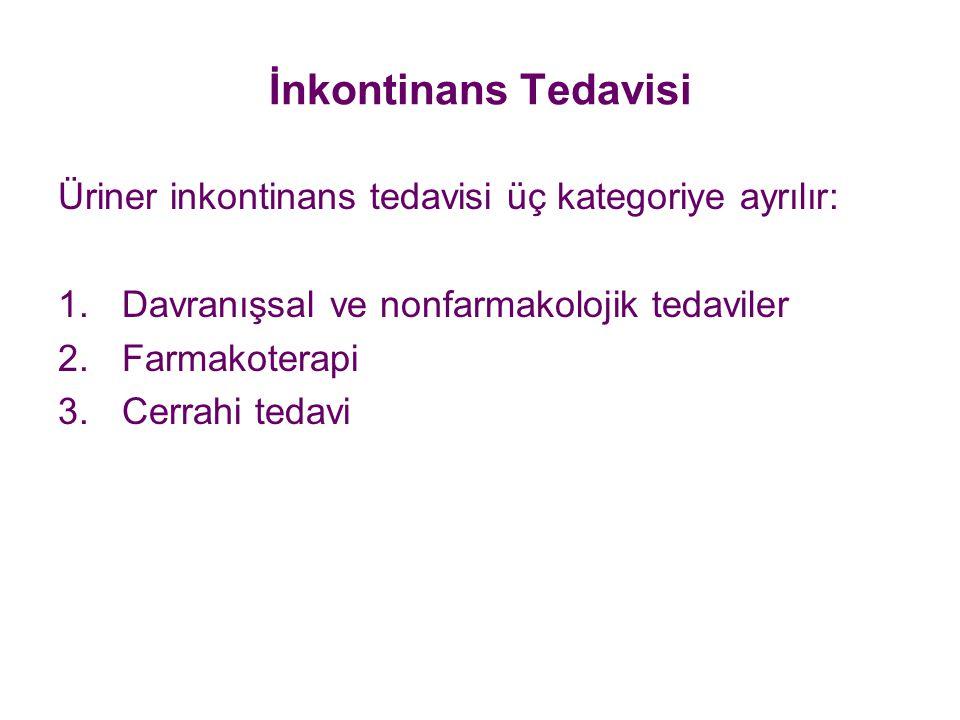 İnkontinans Tedavisi Üriner inkontinans tedavisi üç kategoriye ayrılır: 1.Davranışsal ve nonfarmakolojik tedaviler 2.Farmakoterapi 3.Cerrahi tedavi