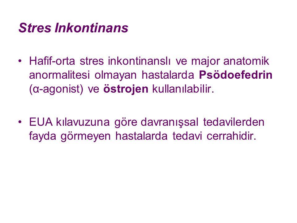 Stres Inkontinans Hafif-orta stres inkontinanslı ve major anatomik anormalitesi olmayan hastalarda Psödoefedrin (α-agonist) ve östrojen kullanılabilir