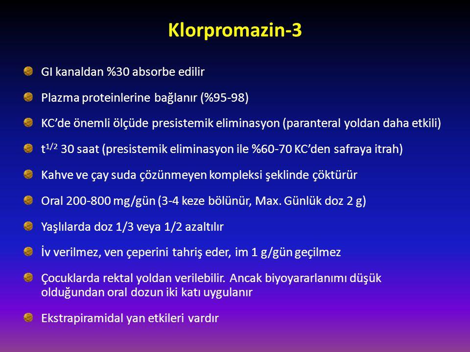 Klorpromazin-3 GI kanaldan %30 absorbe edilir Plazma proteinlerine bağlanır (%95-98) KC'de önemli ölçüde presistemik eliminasyon (paranteral yoldan da