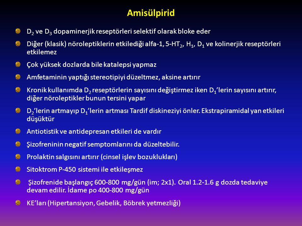 Amisülpirid D 2 ve D 3 dopaminerjik reseptörleri selektif olarak bloke eder Diğer (klasik) nöroleptiklerin etkilediği alfa-1, 5-HT 2, H 1, D 1 ve koli