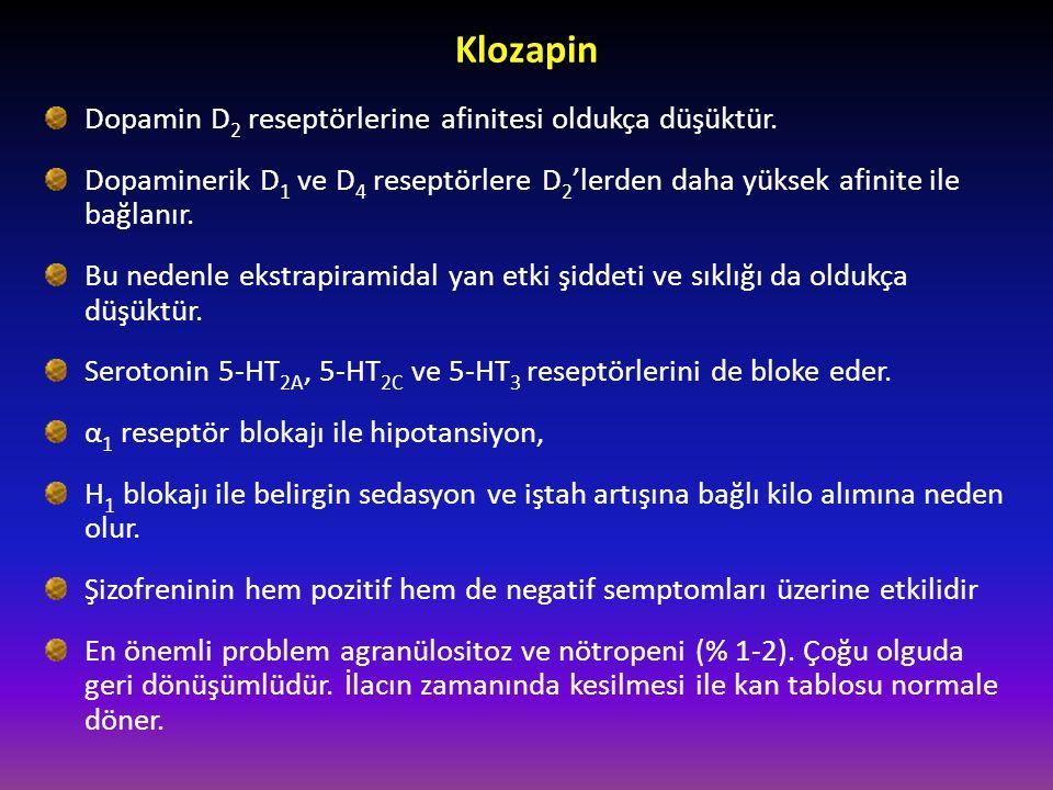 Klozapin Dopamin D 2 reseptörlerine afinitesi oldukça düşüktür. Dopaminerik D 1 ve D 4 reseptörlere D 2 'lerden daha yüksek afinite ile bağlanır. Bu n