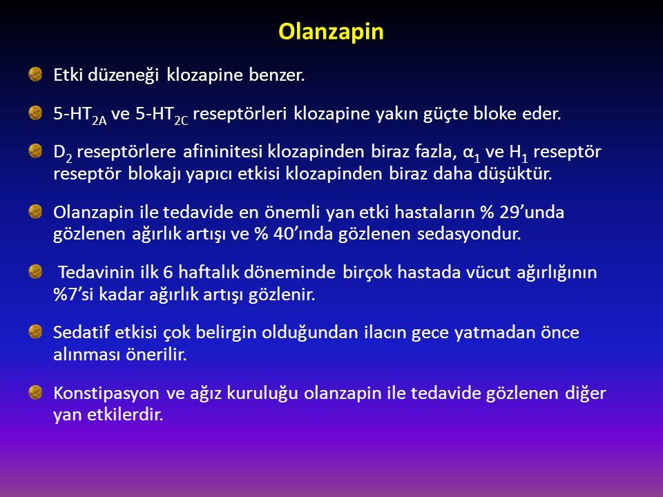 Olanzapin Etki düzeneği klozapine benzer. 5-HT 2A ve 5-HT 2C reseptörleri klozapine yakın güçte bloke eder. D 2 reseptörlere afininitesi klozapinden b