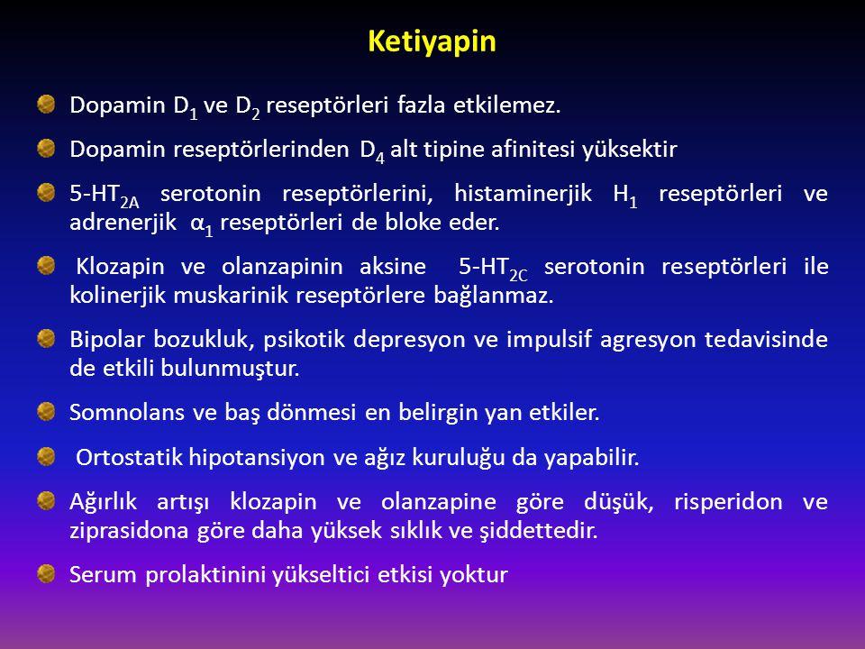 Ketiyapin Dopamin D 1 ve D 2 reseptörleri fazla etkilemez. Dopamin reseptörlerinden D 4 alt tipine afinitesi yüksektir 5-HT 2A serotonin reseptörlerin