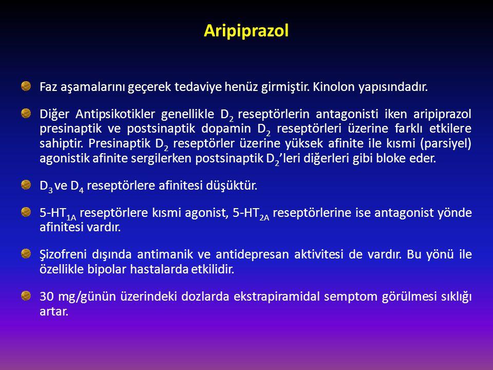 Aripiprazol Faz aşamalarını geçerek tedaviye henüz girmiştir. Kinolon yapısındadır. Diğer Antipsikotikler genellikle D 2 reseptörlerin antagonisti ike