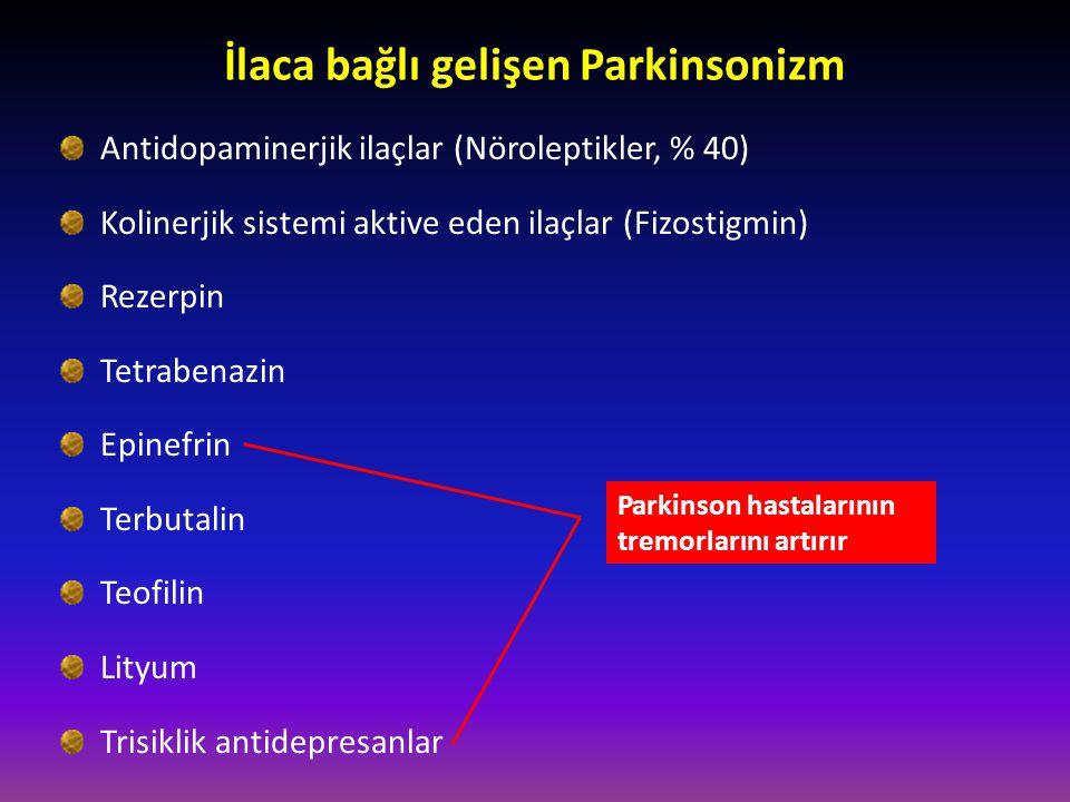 İlaca bağlı gelişen Parkinsonizm Antidopaminerjik ilaçlar (Nöroleptikler, % 40) Kolinerjik sistemi aktive eden ilaçlar (Fizostigmin) Rezerpin Tetraben