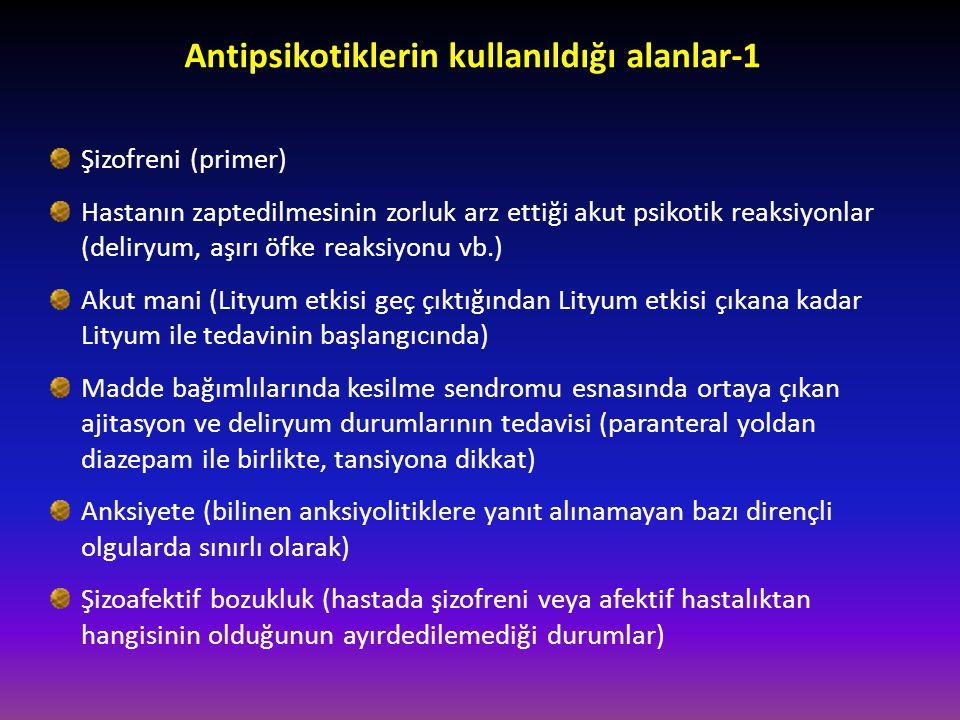 Antipsikotiklerin kullanıldığı alanlar-1 Şizofreni (primer) Hastanın zaptedilmesinin zorluk arz ettiği akut psikotik reaksiyonlar (deliryum, aşırı öfk
