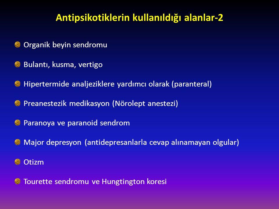 Antipsikotiklerin kullanıldığı alanlar-2 Organik beyin sendromu Bulantı, kusma, vertigo Hipertermide analjeziklere yardımcı olarak (paranteral) Preane
