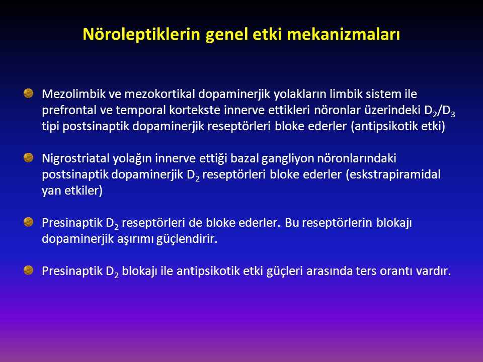 Amisülpirid D 2 ve D 3 dopaminerjik reseptörleri selektif olarak bloke eder Diğer (klasik) nöroleptiklerin etkilediği alfa-1, 5-HT 2, H 1, D 1 ve kolinerjik reseptörleri etkilemez Çok yüksek dozlarda bile katalepsi yapmaz Amfetaminin yaptığı stereotipiyi düzeltmez, aksine artırır Kronik kullanımda D 2 reseptörlerin sayısını değiştirmez iken D 1 'lerin sayısını artırır, diğer nöroleptikler bunun tersini yapar D 2 'lerin artmayıp D 1 'lerin artması Tardif diskineziyi önler.
