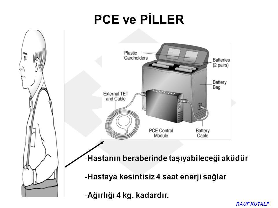 PCE ve PİLLER -Hastanın beraberinde taşıyabileceği aküdür -Hastaya kesintisiz 4 saat enerji sağlar -Ağırlığı 4 kg. kadardır. RAUF KUTALP