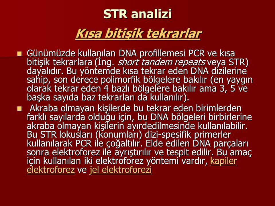 STR analizi Kısa bitişik tekrarlar bitişik tekrarlar bitişik tekrarlar Günümüzde kullanılan DNA profillemesi PCR ve kısa bitişik tekrarlara (İng. shor