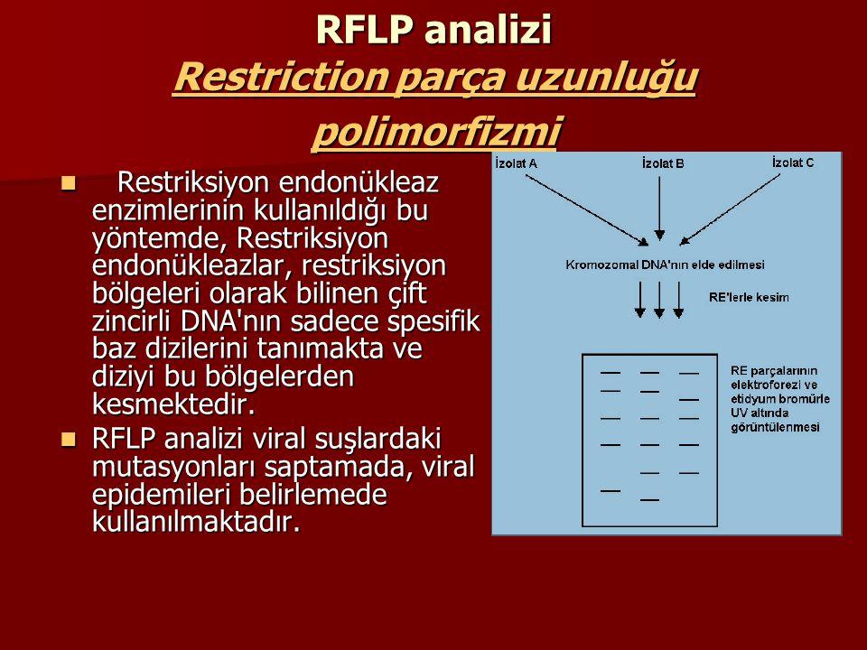 RFLP'nın aşamaları Biyolojik materyalden genomik DNA izole edilir, ve bunlar bir RE ile kesilirler, Biyolojik materyalden genomik DNA izole edilir, ve bunlar bir RE ile kesilirler, Kesilmiş DNA'lar elektroforeze tabi tutulurlar, Kesilmiş DNA'lar elektroforeze tabi tutulurlar, Polimorfik bölge olup olmadığına bakılır (EtBr ile işaretlendikten sonra; gözle ayırt edilemiyorsa veya doğrulamak için Southern Blot'tan sonra) Polimorfik bölge olup olmadığına bakılır (EtBr ile işaretlendikten sonra; gözle ayırt edilemiyorsa veya doğrulamak için Southern Blot'tan sonra)