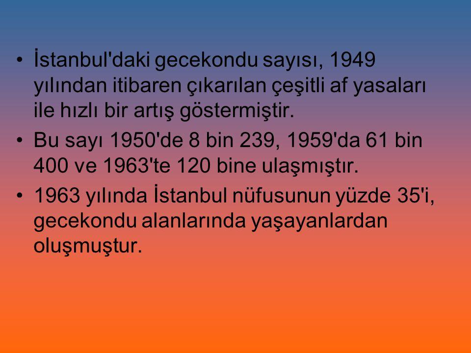 İstanbul'daki gecekondu sayısı, 1949 yılından itibaren çıkarılan çeşitli af yasaları ile hızlı bir artış göstermiştir. Bu sayı 1950'de 8 bin 239, 1959