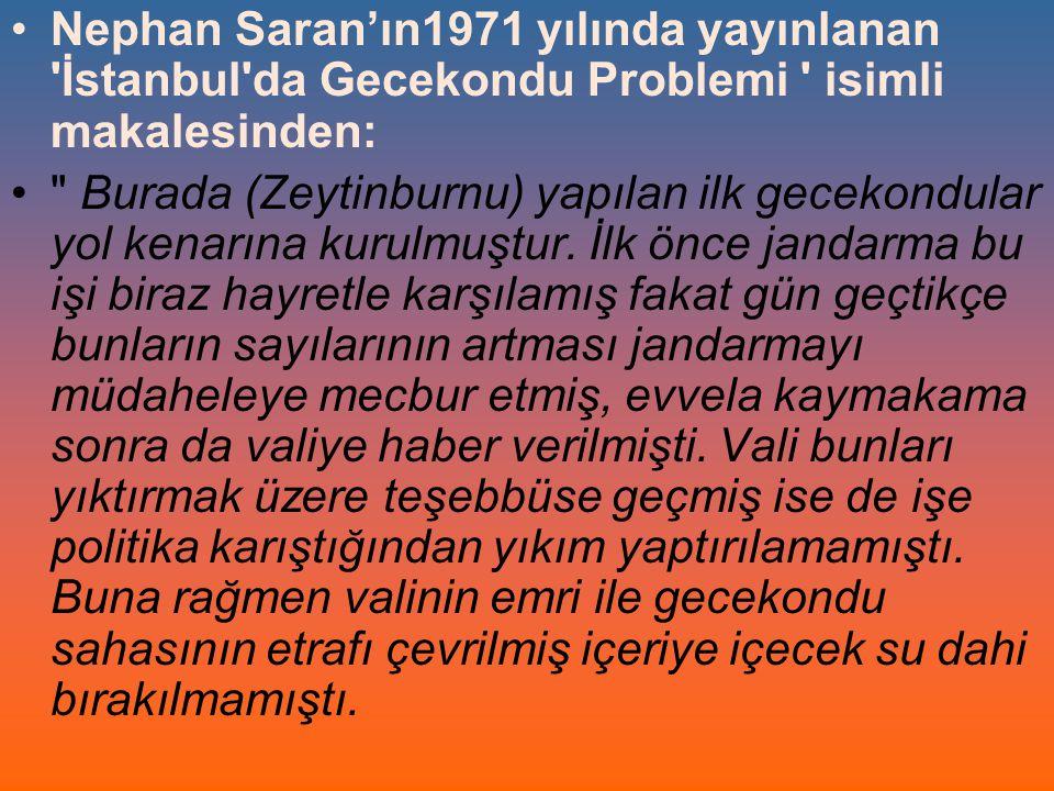 Nephan Saran'ın1971 yılında yayınlanan 'İstanbul'da Gecekondu Problemi ' isimli makalesinden: