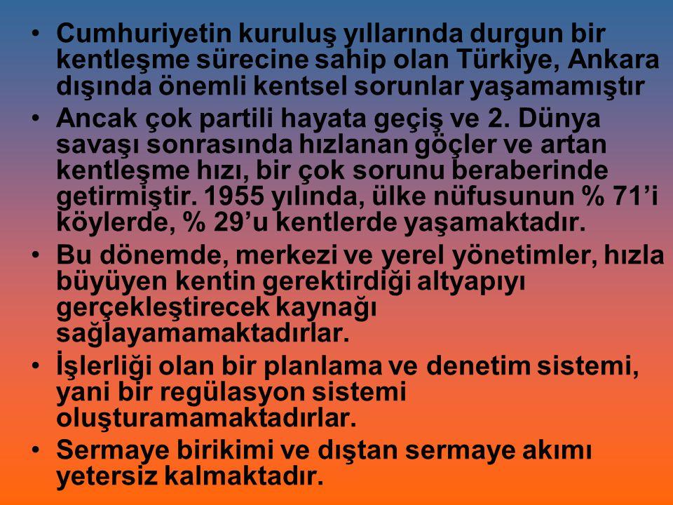 Cumhuriyetin kuruluş yıllarında durgun bir kentleşme sürecine sahip olan Türkiye, Ankara dışında önemli kentsel sorunlar yaşamamıştır Ancak çok partil