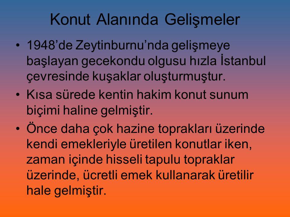 Konut Alanında Gelişmeler 1948'de Zeytinburnu'nda gelişmeye başlayan gecekondu olgusu hızla İstanbul çevresinde kuşaklar oluşturmuştur. Kısa sürede ke