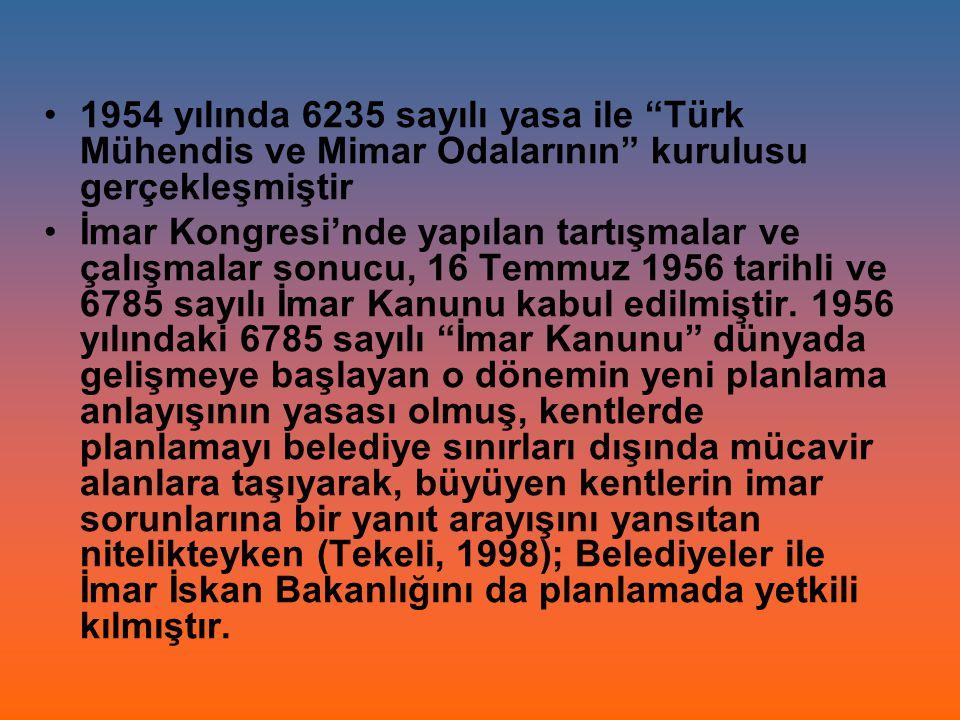 """1954 yılında 6235 sayılı yasa ile """"Türk Mühendis ve Mimar Odalarının"""" kurulusu gerçekleşmiştir İmar Kongresi'nde yapılan tartışmalar ve çalışmalar son"""