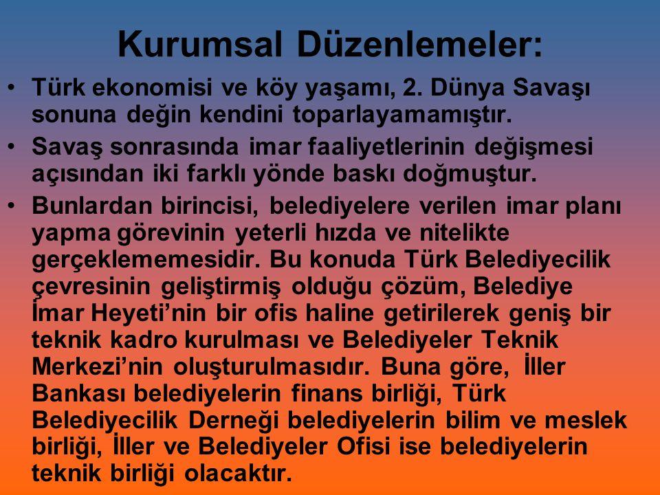 Kurumsal Düzenlemeler: Türk ekonomisi ve köy yaşamı, 2. Dünya Savaşı sonuna değin kendini toparlayamamıştır. Savaş sonrasında imar faaliyetlerinin değ
