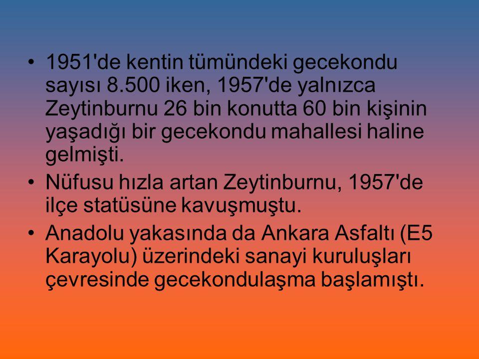 1951'de kentin tümündeki gecekondu sayısı 8.500 iken, 1957'de yalnızca Zeytinburnu 26 bin konutta 60 bin kişinin yaşadığı bir gecekondu mahallesi hali