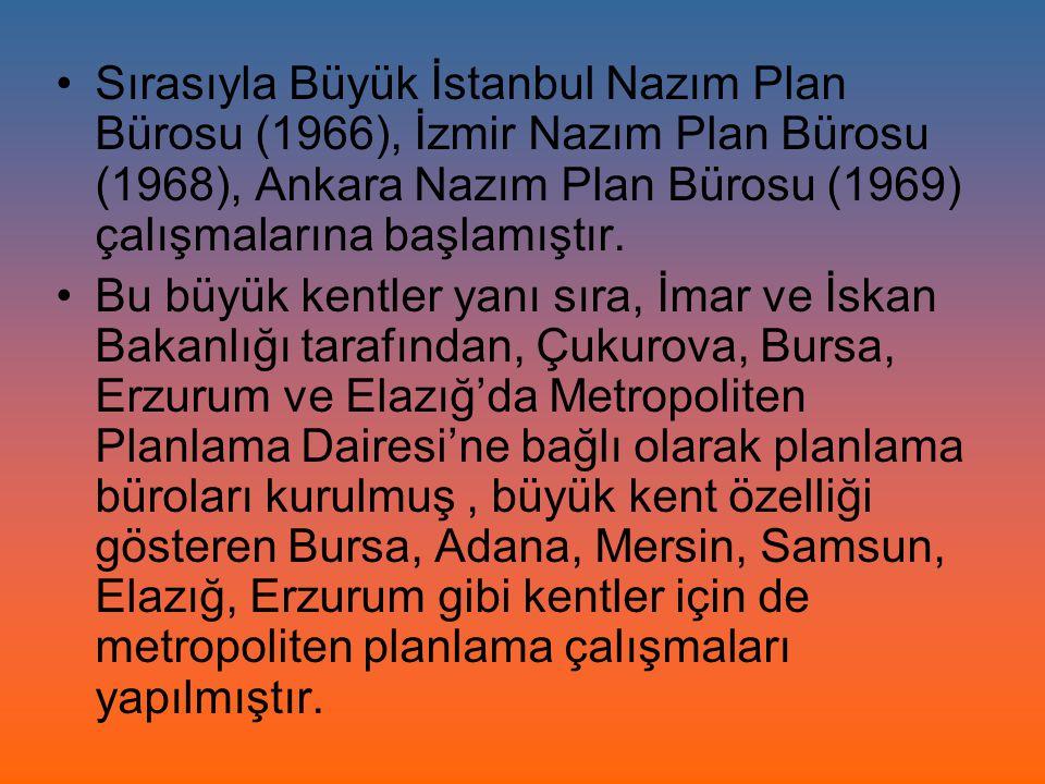 Sırasıyla Büyük İstanbul Nazım Plan Bürosu (1966), İzmir Nazım Plan Bürosu (1968), Ankara Nazım Plan Bürosu (1969) çalışmalarına başlamıştır. Bu büyük
