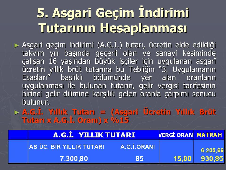 5. Asgari Geçim İndirimi Tutarının Hesaplanması ► Asgari geçim indirimi (A.G.İ.) tutarı, ücretin elde edildiği takvim yılı başında geçerli olan ve san