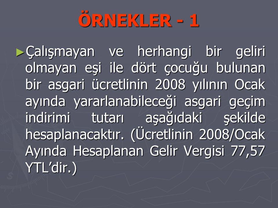 ÖRNEKLER - 1 ► Çalışmayan ve herhangi bir geliri olmayan eşi ile dört çocuğu bulunan bir asgari ücretlinin 2008 yılının Ocak ayında yararlanabileceği asgari geçim indirimi tutarı aşağıdaki şekilde hesaplanacaktır.