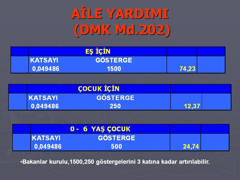 AİLE YARDIMI (DMK Md.202) Bakanlar kurulu,1500,250 göstergelerini 3 katına kadar artırılabilir.