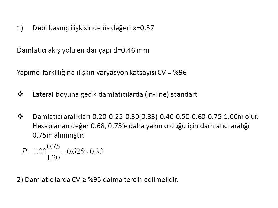 1)Debi basınç ilişkisinde üs değeri x=0,57 Damlatıcı akış yolu en dar çapı d=0.46 mm Yapımcı farklılığına ilişkin varyasyon katsayısı CV = %96  Lateral boyuna gecik damlatıcılarda (in-line) standart  Damlatıcı aralıkları 0.20-0.25-0.30(0.33)-0.40-0.50-0.60-0.75-1.00m olur.