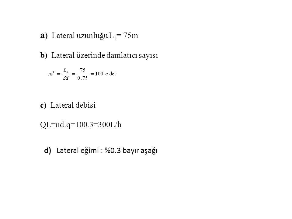 a ) Lateral uzunluğu L 1 = 75m b) Lateral ü zerinde damlatıcı sayısı c) Lateral debisi QL=nd.q=100.3=300L/h d) Lateral eğimi : %0.3 bayır aşağı