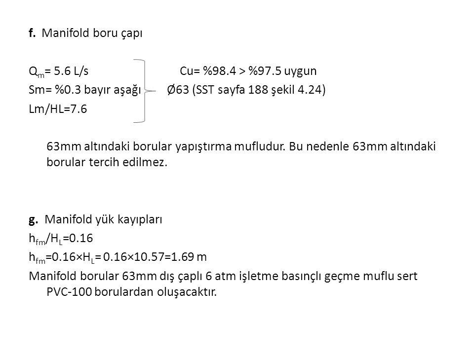 f. Manifold boru çapı Q m = 5.6 L/s Cu= %98.4 > %97.5 uygun Sm= %0.3 bayır aşağı Ø63 (SST sayfa 188 şekil 4.24) Lm/HL=7.6 63mm altındaki borular yapış