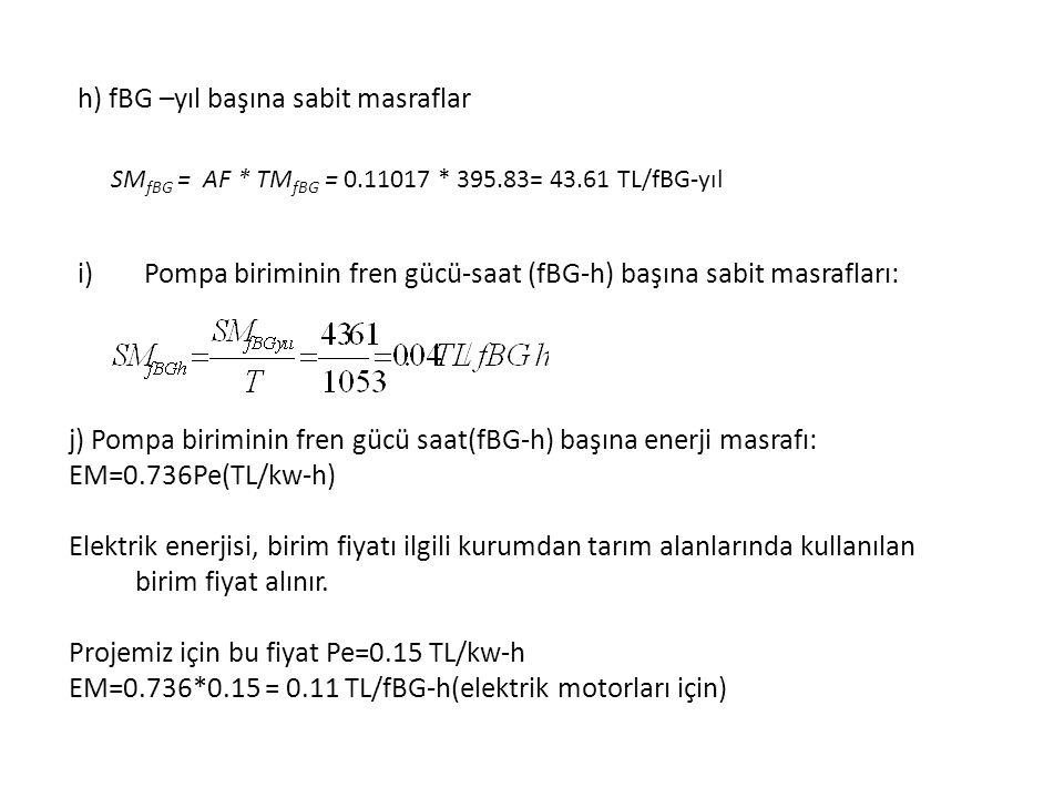 i)Pompa biriminin fren gücü-saat (fBG-h) başına sabit masrafları: j) Pompa biriminin fren gücü saat(fBG-h) başına enerji masrafı: EM=0.736Pe(TL/kw-h) Elektrik enerjisi, birim fiyatı ilgili kurumdan tarım alanlarında kullanılan birim fiyat alınır.