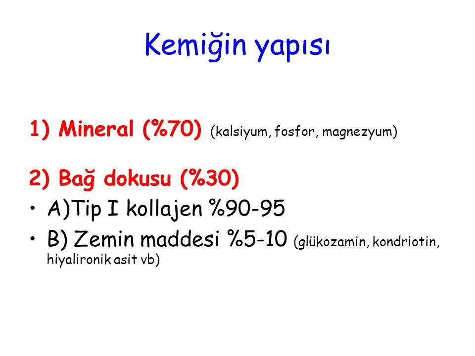 Kemiğin yapısı 1) Mineral (%70) (kalsiyum, fosfor, magnezyum) 2) Bağ dokusu (%30) A)Tip I kollajen %90-95 B) Zemin maddesi %5-10 (glükozamin, kondriot