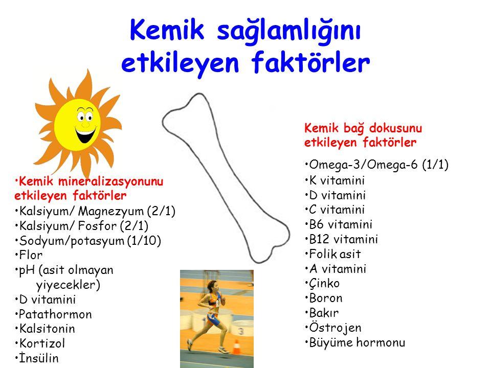 Kemik sağlamlığını etkileyen faktörler Kemik mineralizasyonunu etkileyen faktörler Kalsiyum/ Magnezyum (2/1) Kalsiyum/ Fosfor (2/1) Sodyum/potasyum (1