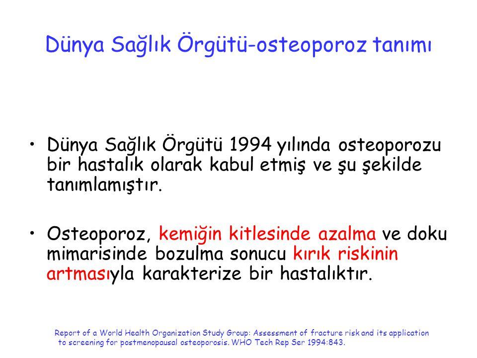 Dünya Sağlık Örgütü-osteoporoz tanımı Dünya Sağlık Örgütü 1994 yılında osteoporozu bir hastalık olarak kabul etmiş ve şu şekilde tanımlamıştır. Osteop