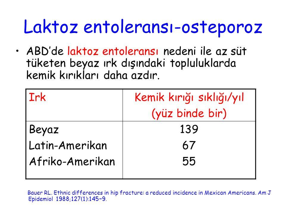 Laktoz entoleransı-osteporoz ABD'de laktoz entoleransı nedeni ile az süt tüketen beyaz ırk dışındaki topluluklarda kemik kırıkları daha azdır. Bauer R