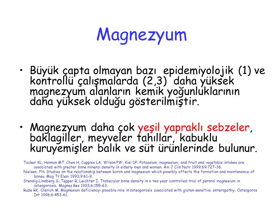 Magnezyum Büyük çapta olmayan bazı epidemiyolojik (1) ve kontrollü çalışmalarda (2,3) daha yüksek magnezyum alanların kemik yoğunluklarının daha yükse
