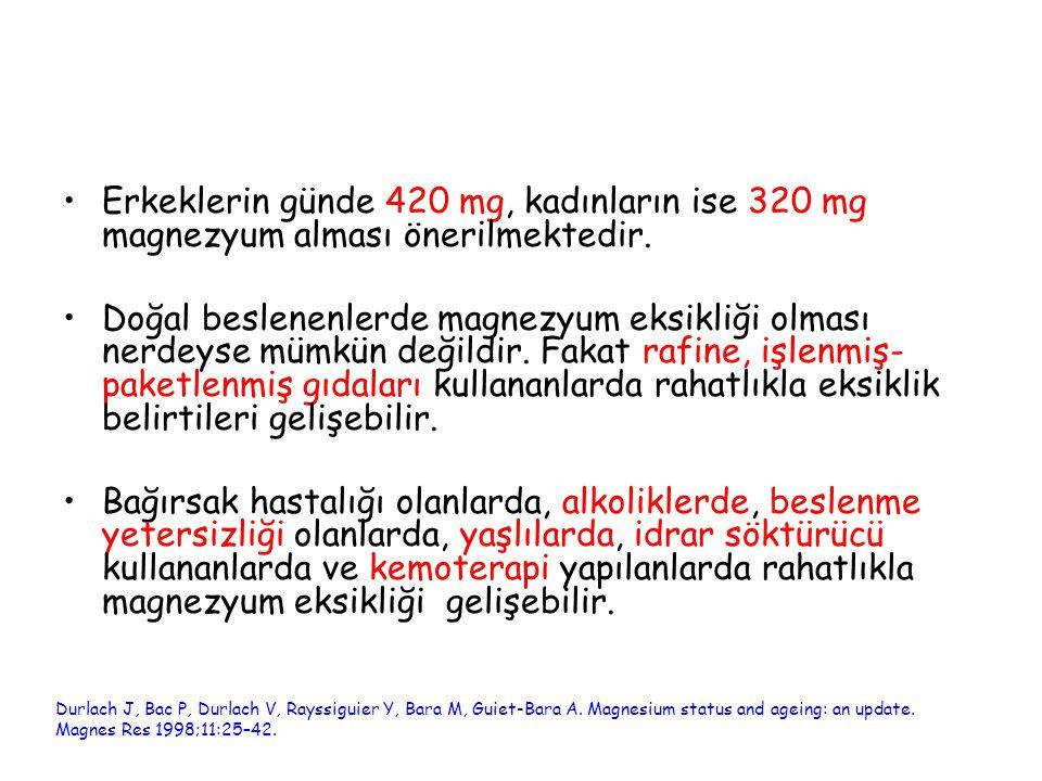 Erkeklerin günde 420 mg, kadınların ise 320 mg magnezyum alması önerilmektedir. Doğal beslenenlerde magnezyum eksikliği olması nerdeyse mümkün değildi