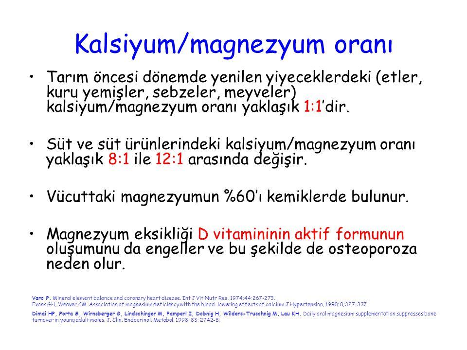 Kalsiyum/magnezyum oranı Tarım öncesi dönemde yenilen yiyeceklerdeki (etler, kuru yemişler, sebzeler, meyveler) kalsiyum/magnezyum oranı yaklaşık 1:1'