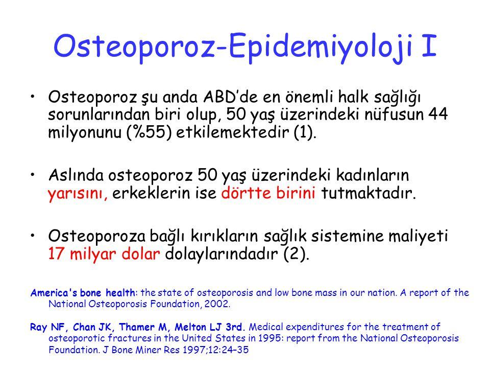 Osteoporoz-Epidemiyoloji I Osteoporoz şu anda ABD'de en önemli halk sağlığı sorunlarından biri olup, 50 yaş üzerindeki nüfusun 44 milyonunu (%55) etki
