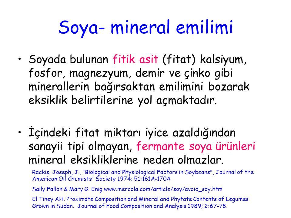 Soya- mineral emilimi Soyada bulunan fitik asit (fitat) kalsiyum, fosfor, magnezyum, demir ve çinko gibi minerallerin bağırsaktan emilimini bozarak ek