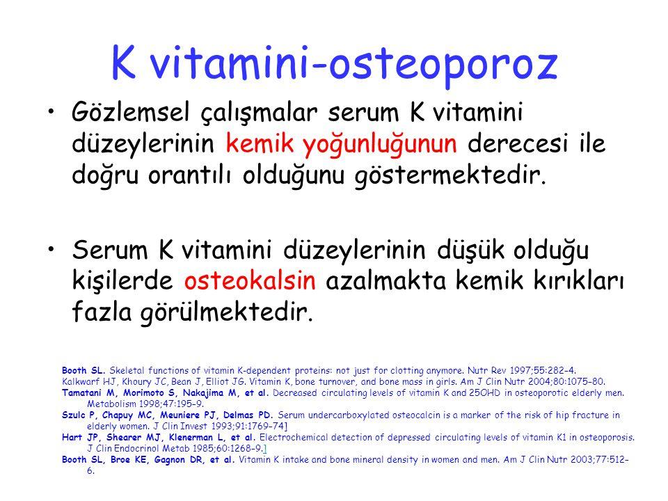 Gözlemsel çalışmalar serum K vitamini düzeylerinin kemik yoğunluğunun derecesi ile doğru orantılı olduğunu göstermektedir. Serum K vitamini düzeylerin