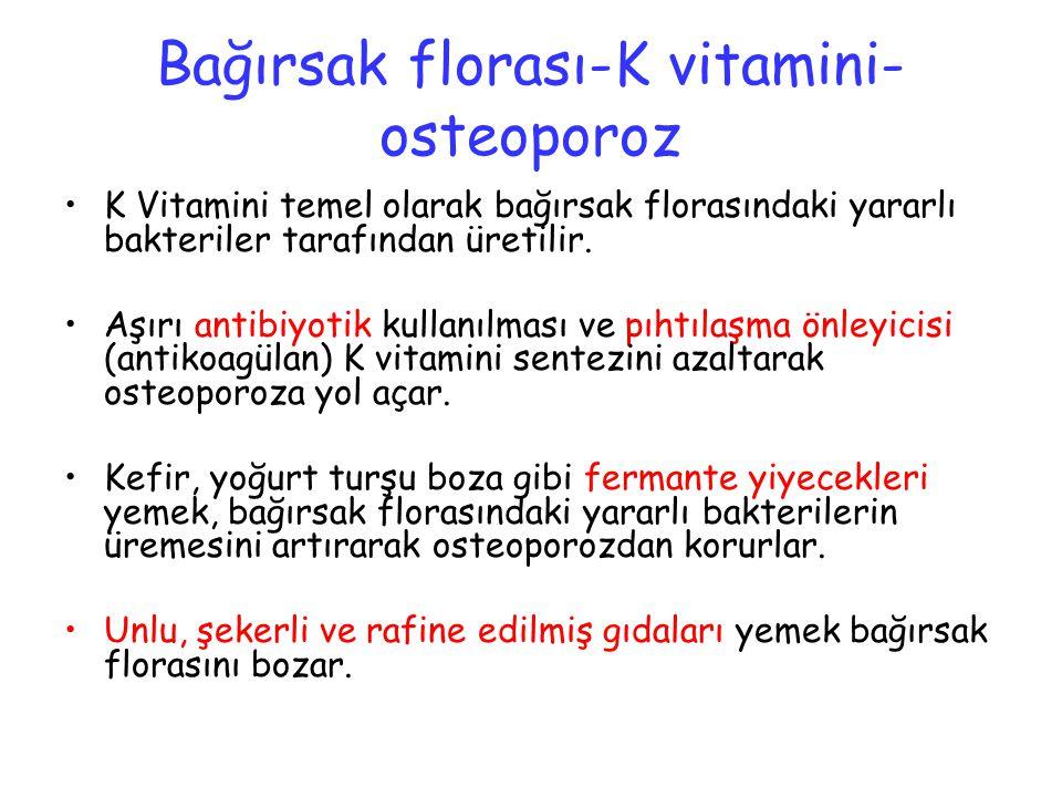 Bağırsak florası-K vitamini- osteoporoz K Vitamini temel olarak bağırsak florasındaki yararlı bakteriler tarafından üretilir. Aşırı antibiyotik kullan