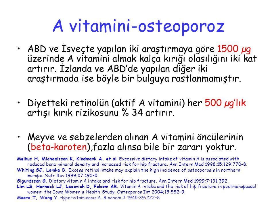 ABD ve İsveçte yapılan iki araştırmaya göre 1500 µg üzerinde A vitamini almak kalça kırığı olasılığını iki kat artırır. İzlanda ve ABD'de yapılan diğe