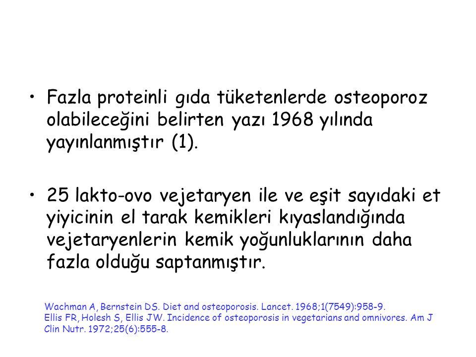 Fazla proteinli gıda tüketenlerde osteoporoz olabileceğini belirten yazı 1968 yılında yayınlanmıştır (1). 25 lakto-ovo vejetaryen ile ve eşit sayıdaki